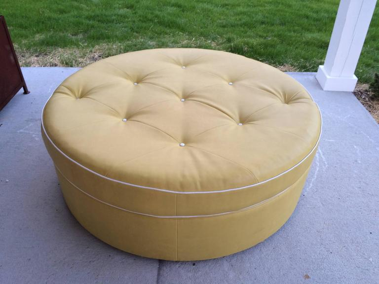 Tufted Round Yellow Ottoman On Brass Castors At 1stdibs