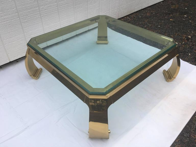 Asian Inspired Brass And Glass Coffee Table By Karl Springer For Sale At 1stdibs