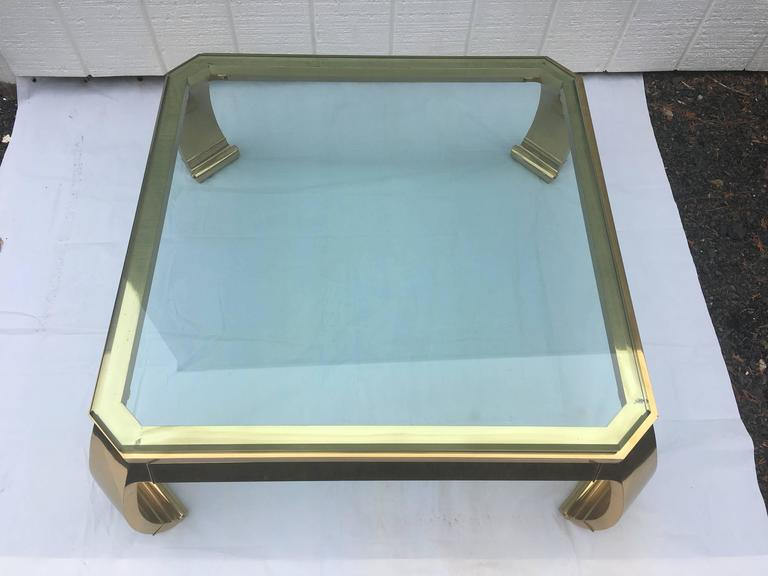 Late 20th Century  Asian Inspired Brass and Glass Coffee Table attributed to Mastercraft For Sale