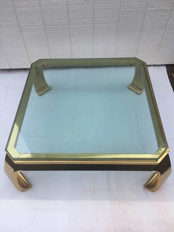 Asian Inspired Brass and Glass Coffee Table attributed to Mastercraft For Sale 1