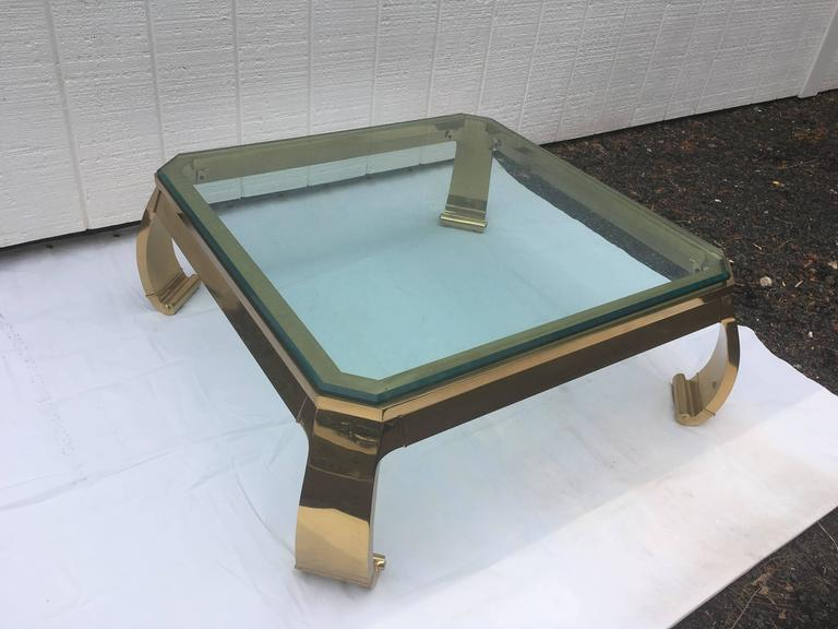Asian Inspired Brass and Glass Coffee Table attributed to Mastercraft For Sale 2