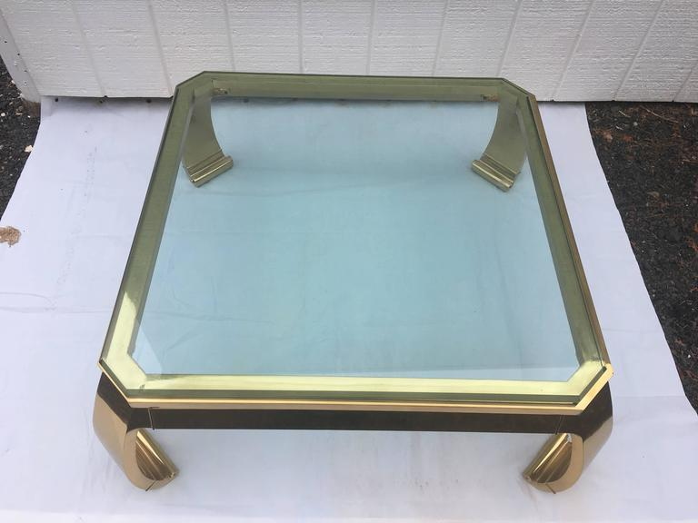Asian Inspired Brass and Glass Coffee Table attributed to Mastercraft For Sale 3