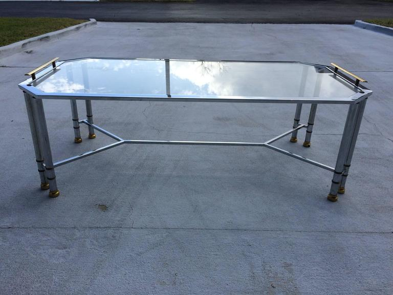 Hollywood Regency Chrome and Brass Coffee Table 3