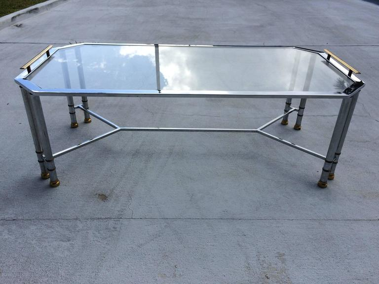 Hollywood Regency Chrome and Brass Coffee Table 6