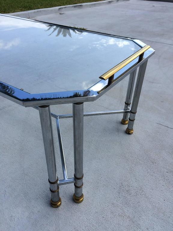 Hollywood Regency Chrome and Brass Coffee Table 7