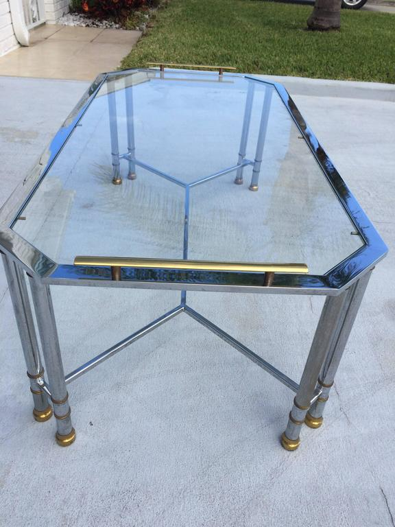 Hollywood Regency Chrome and Brass Coffee Table 9
