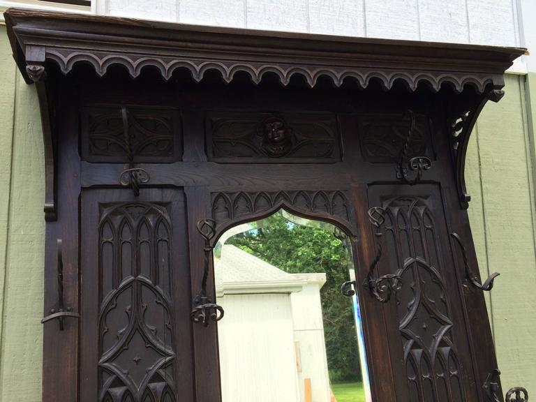 Antique Gothic Carved Walnut Hall Tree 5