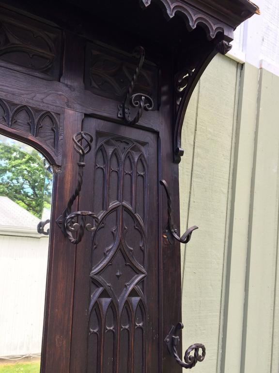 Antique Gothic Carved Walnut Hall Tree 9