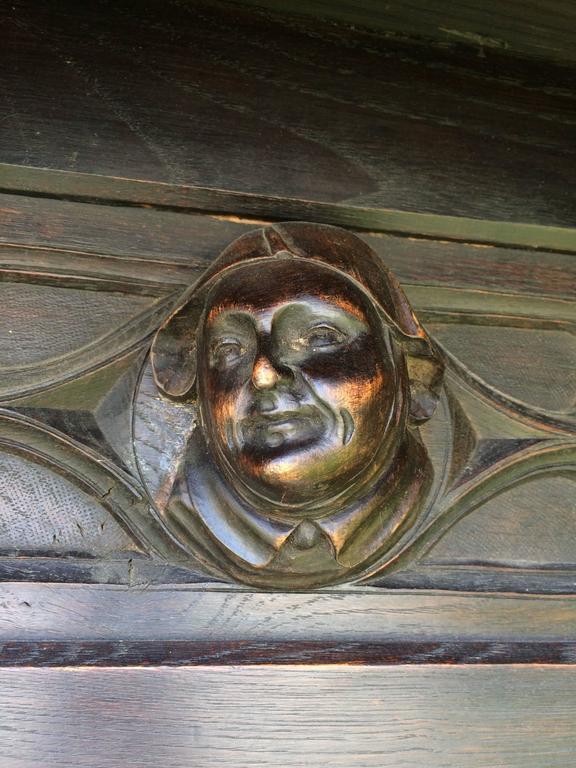 Antique Gothic Carved Walnut Hall Tree 10