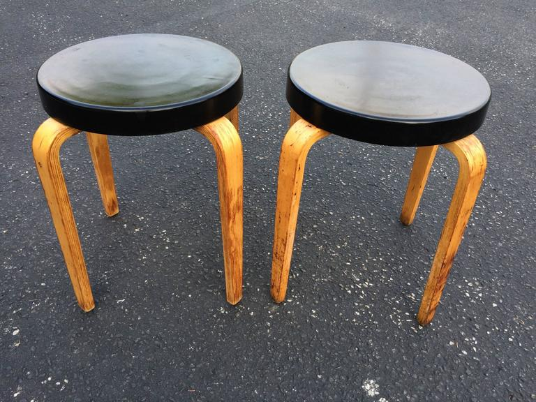 Mid-Century Modern Pair of Authentic Thonet Stacking Stool Tables For Sale