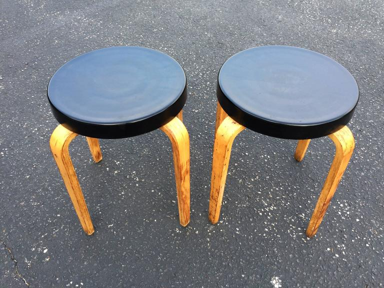 Pair of Authentic Thonet Stacking Stool Tables In Good Condition For Sale In Redding, CT