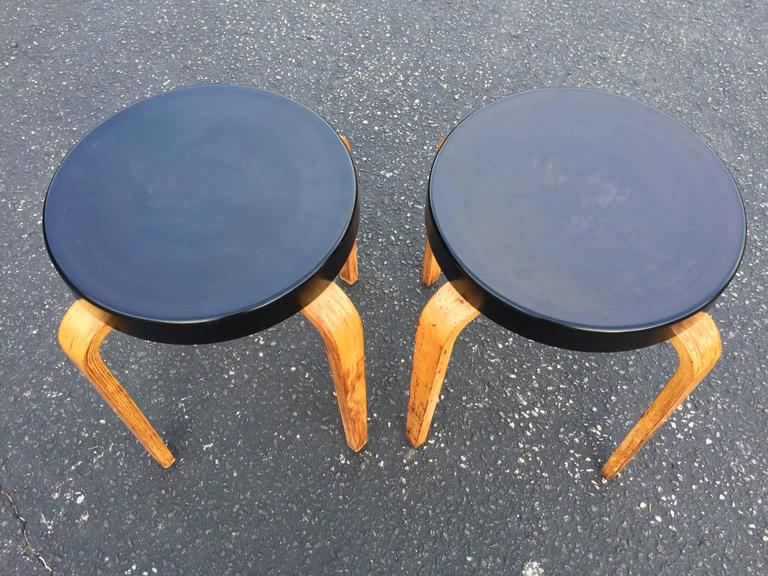 Mid-20th Century Pair of Authentic Thonet Stacking Stool Tables For Sale