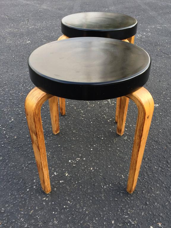 Plastic Pair of Authentic Thonet Stacking Stool Tables For Sale
