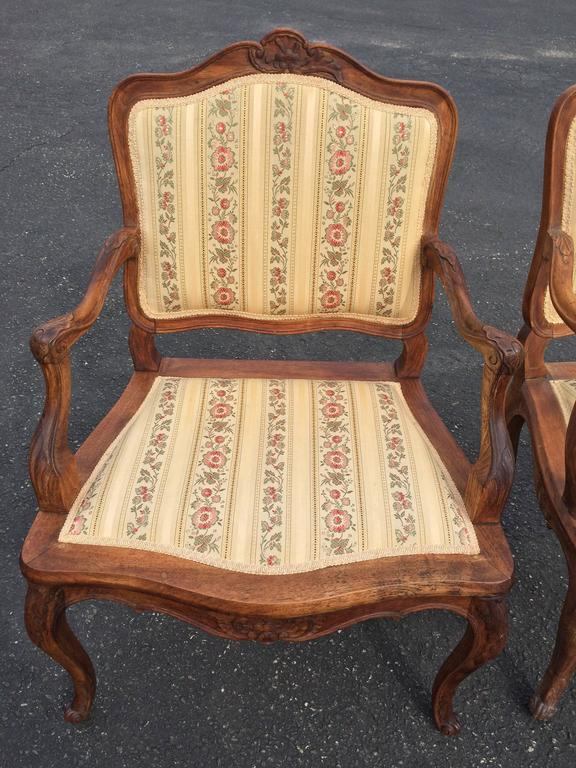 Upholstery Pair of French Louis XV Style Armchairs For Sale