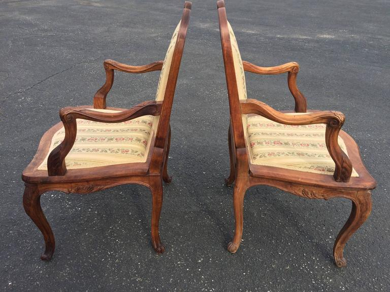 Pair of French Louis XV Style Armchairs For Sale 1