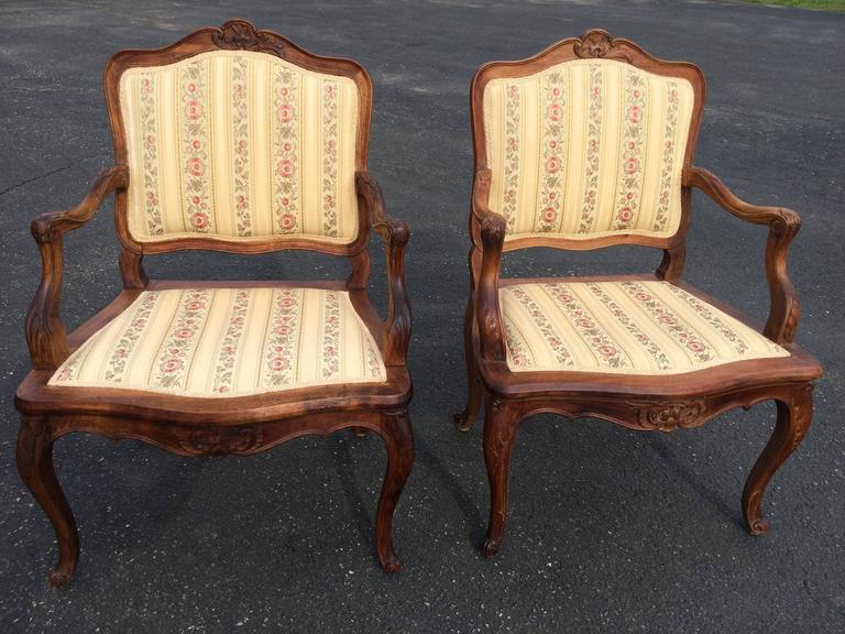 Pair of French Louis XV Style Armchairs For Sale 5