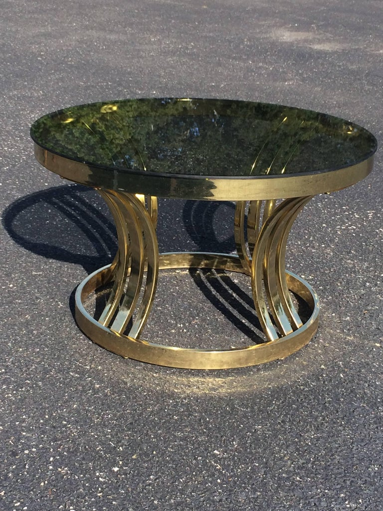 Mid Century Brass And Smoked Glass Round Coffee Table By