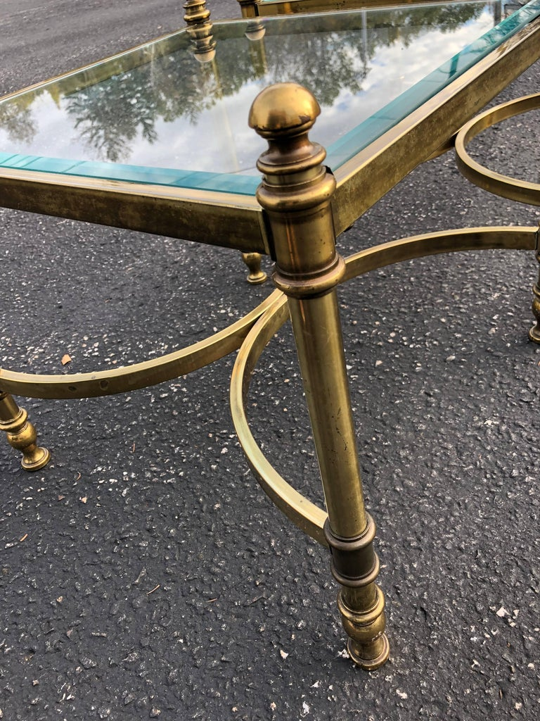 Pair of Hollywood Regency Brass and Glass End Tables For Sale 2