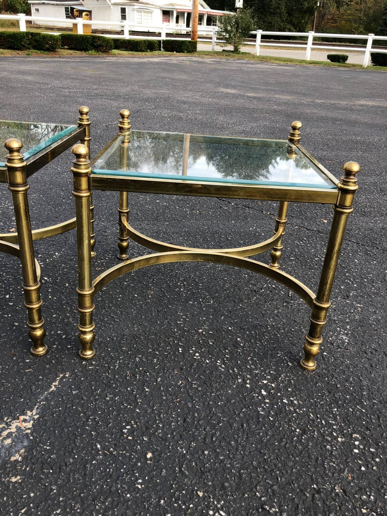 Late 20th Century Pair of Hollywood Regency Brass and Glass End Tables For Sale