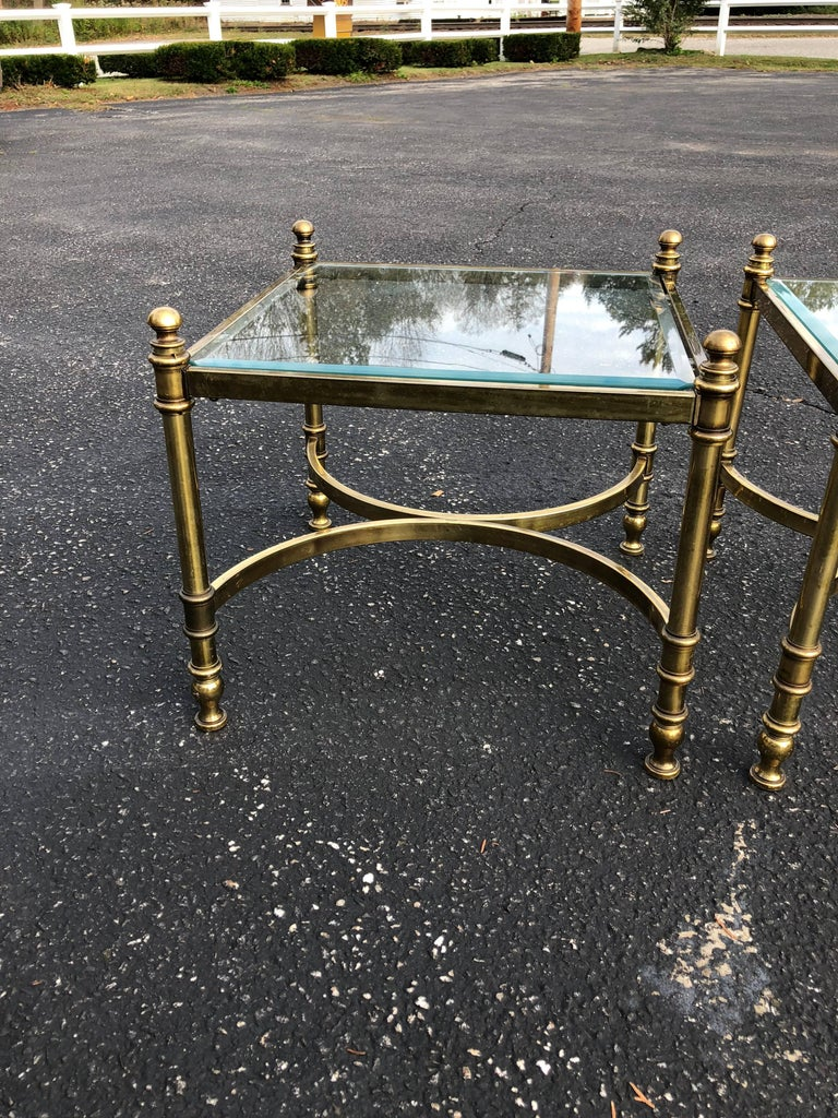 Pair of Hollywood Regency Brass and Glass End Tables For Sale 1