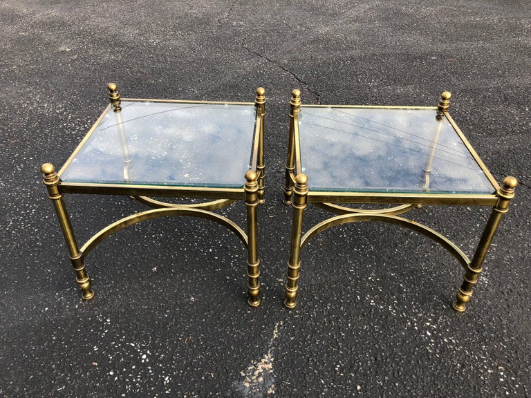 Pair of Hollywood Regency Brass and Glass End Tables In Good Condition For Sale In Redding, CT