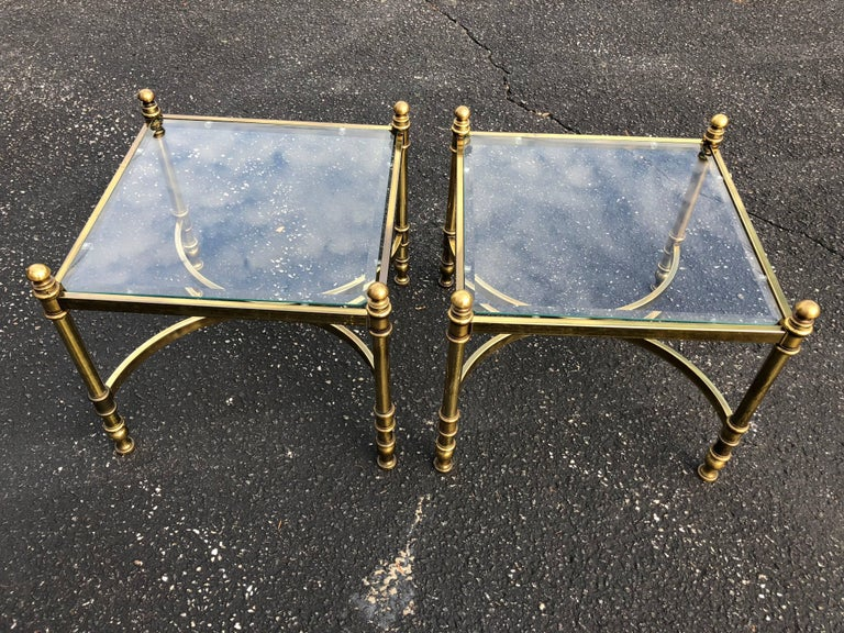 Beveled Pair of Hollywood Regency Brass and Glass End Tables For Sale