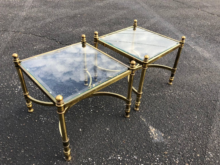 Pair of Hollywood Regency Brass and Glass End Tables For Sale 5