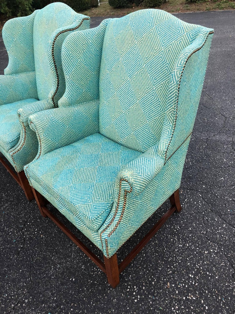 Modern Pair of Henredon Wing Back Chairs For Sale