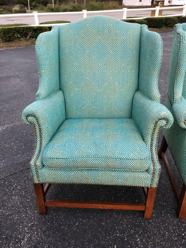 Upholstery Pair of Henredon Wing Back Chairs For Sale