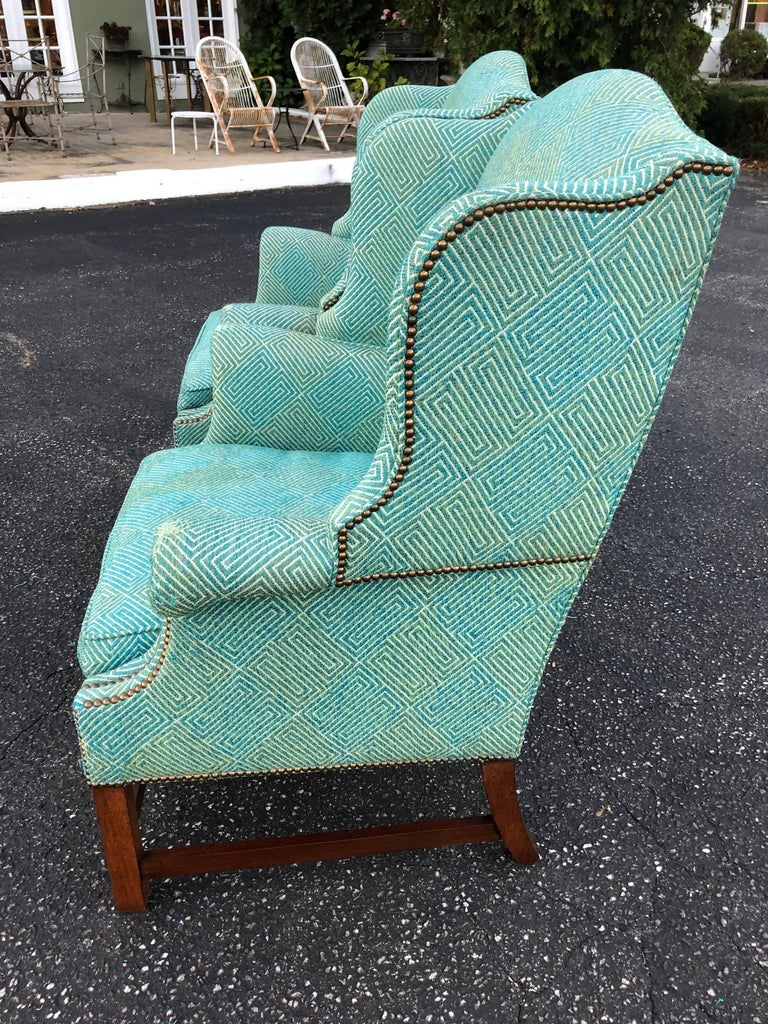 Late 20th Century Pair of Henredon Wing Back Chairs For Sale