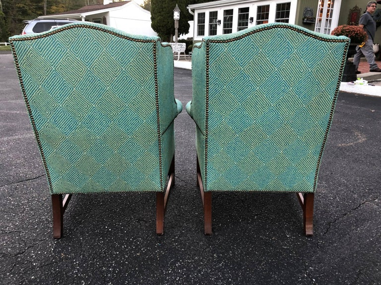 Pair of Henredon Wing Back Chairs For Sale 2