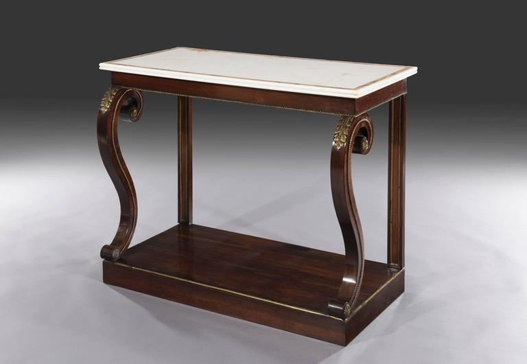 Regency Rosewood And Brass Mounted Marble Top Console