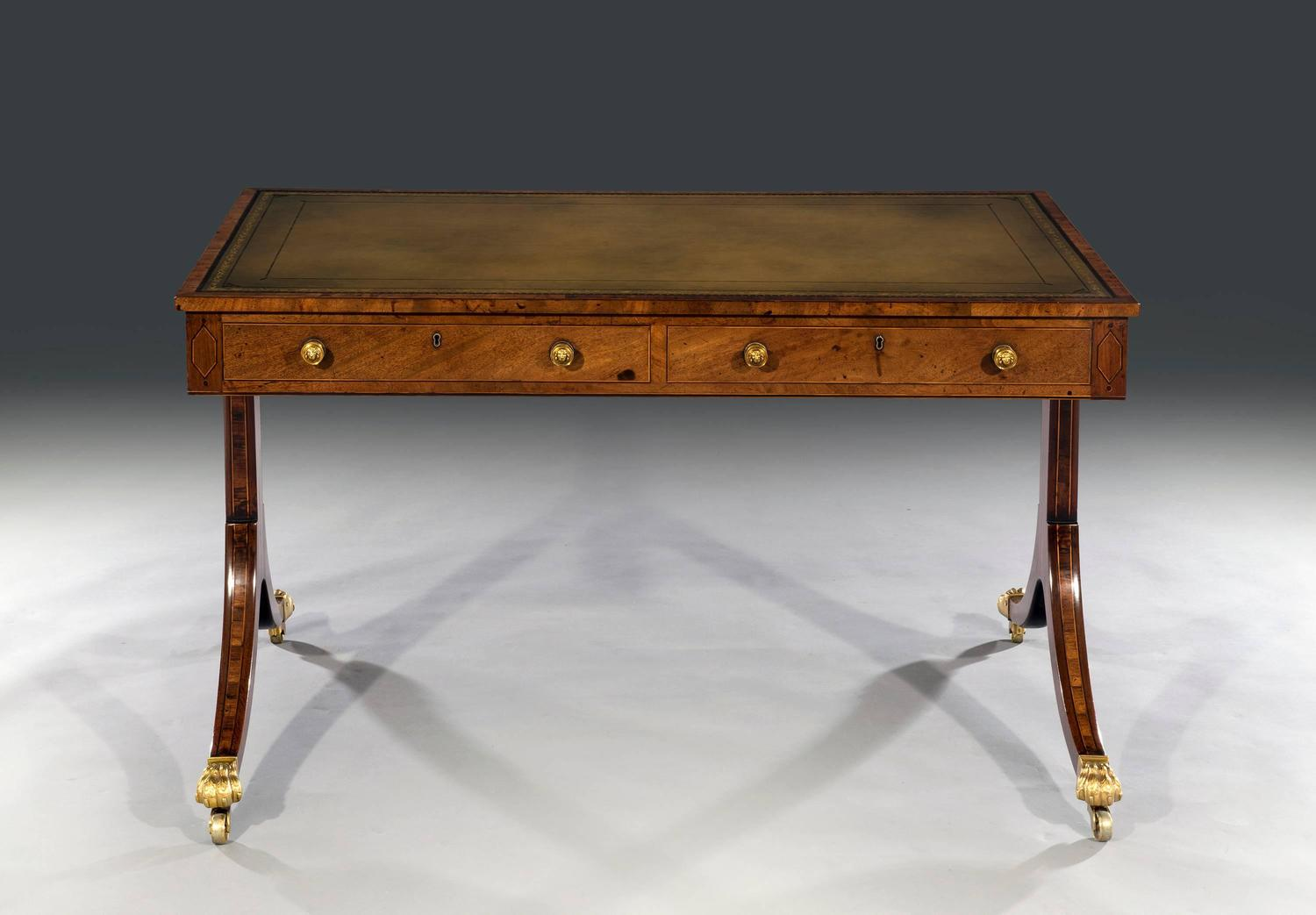 Amazing photo of  George III Regency Period Two Drawer Mahogany Writing Table at 1stdibs with #6E421D color and 1500x1043 pixels