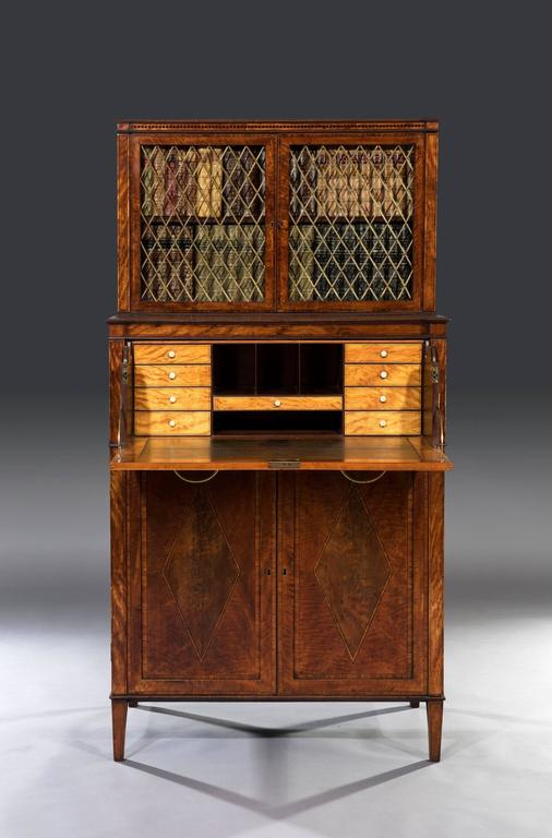 English George III Sheraton 18th Century Satinwood Inlaid Secrétaire Dwarf Bookcase For Sale