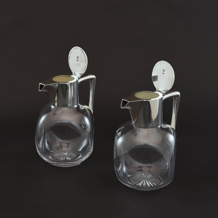 Pair of Silver and Cut-Glass Claret Jugs 3