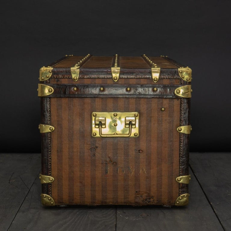 Brass Rare Striped Louis Vuitton Trunk, circa 1885 For Sale