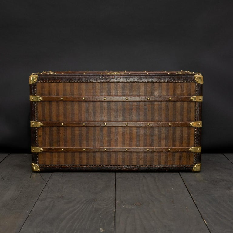 Rare Striped Louis Vuitton Trunk, circa 1885 For Sale 1