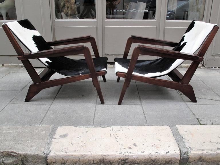 Pierre Jeanneret Style of Armchairs Design 1940 Grenoble 3