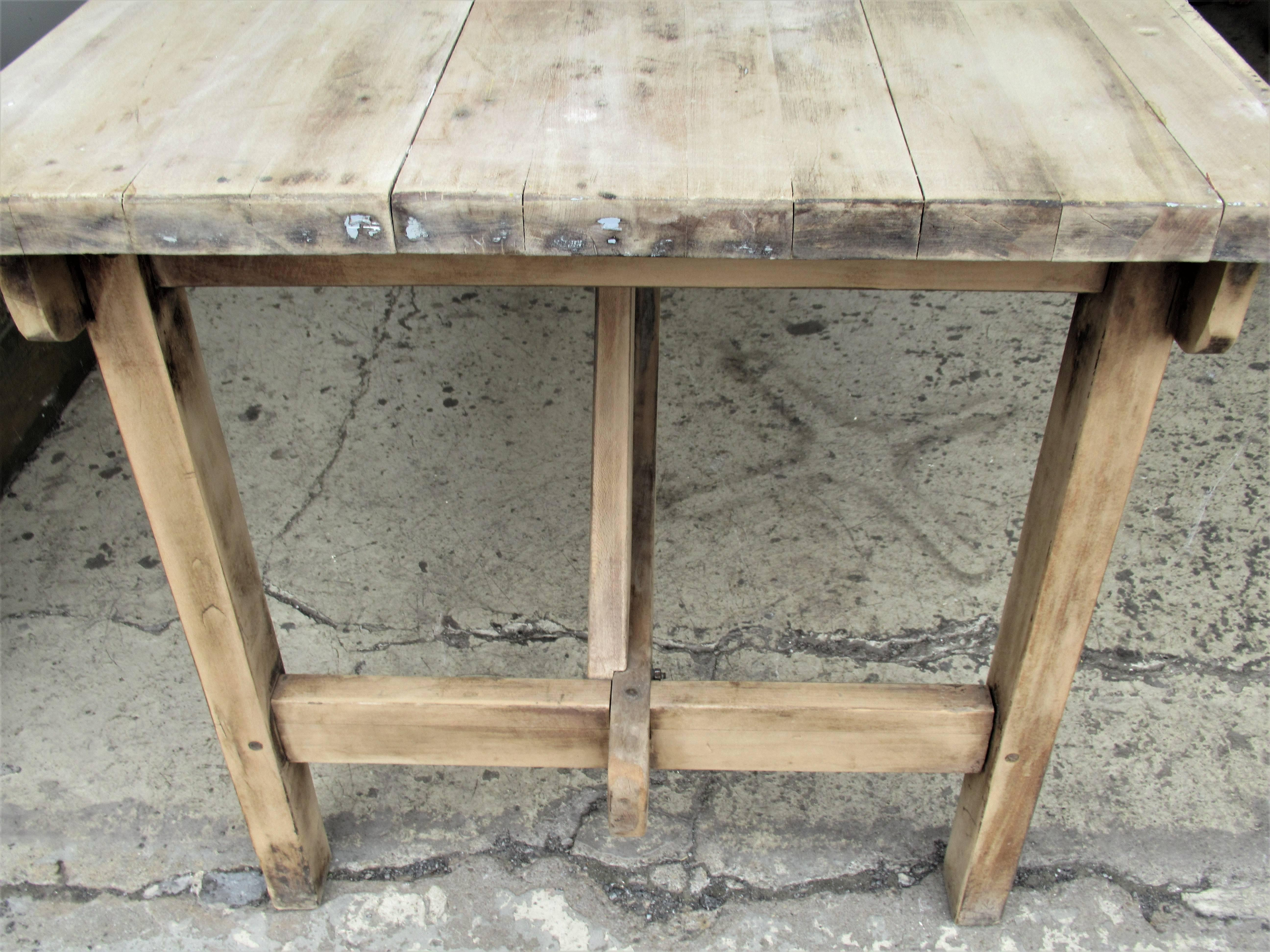 1940s American Rustic Industrial Harvest Table In Good Condition For Sale  In Rochester, NY