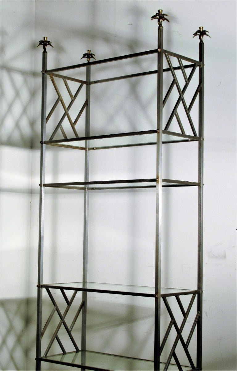 20th Century Exotic Neoclassical Brushed Steel and Bronze Étagère Attributed to Maison Jansen For Sale