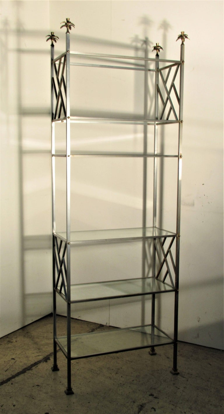 Exotic Neoclassical Brushed Steel and Bronze Étagère Attributed to Maison Jansen For Sale 2