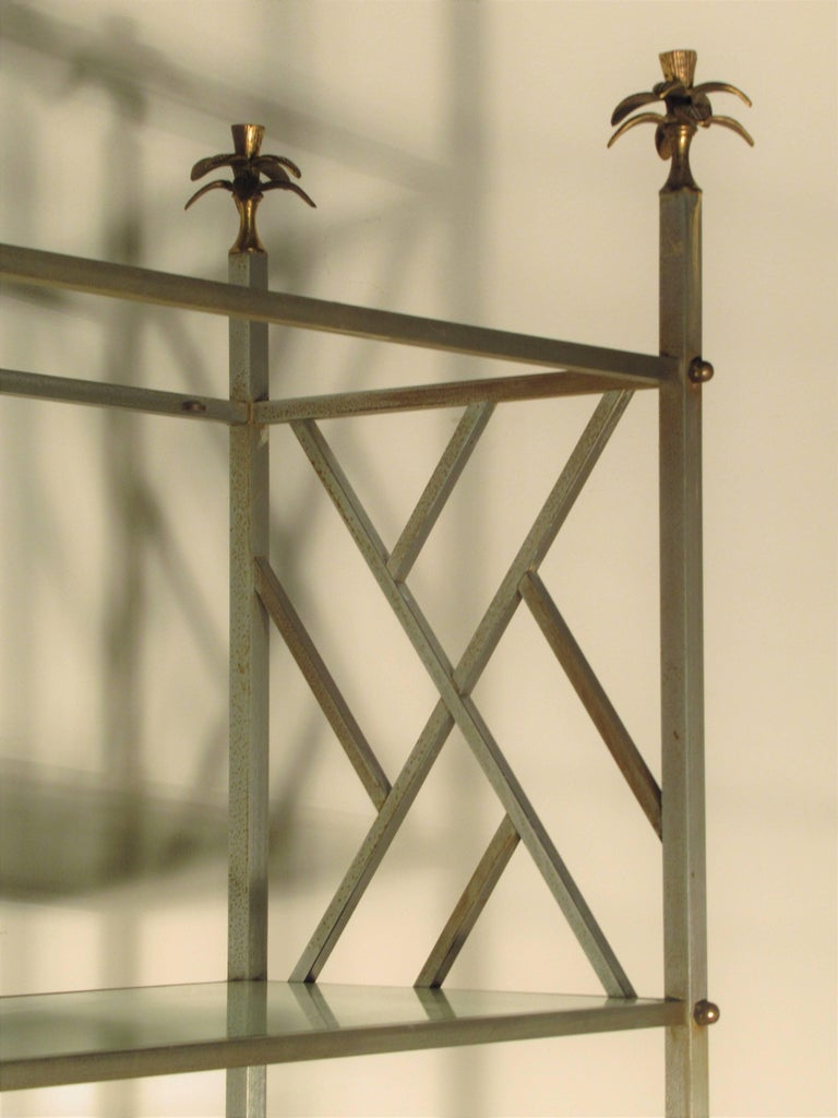 Exotic Neoclassical Brushed Steel and Bronze Étagère Attributed to Maison Jansen For Sale 1