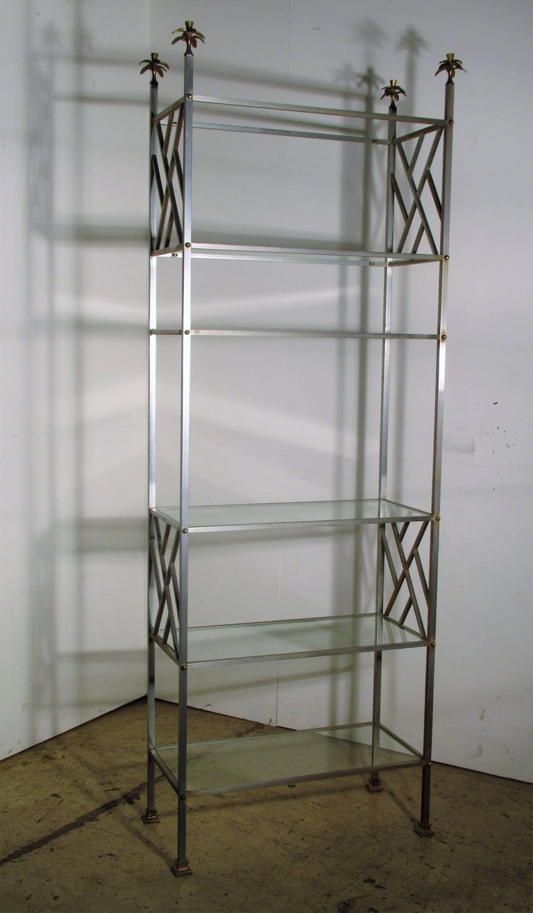 Exotic Neoclassical Brushed Steel and Bronze Étagère Attributed to Maison Jansen For Sale 9