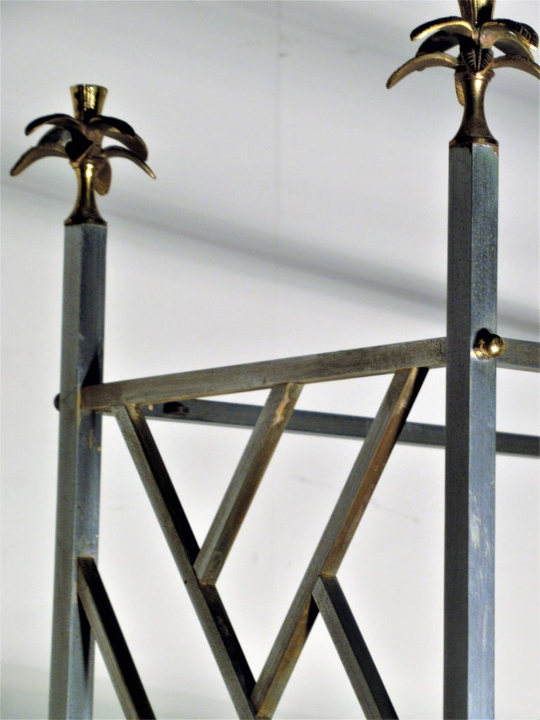 Exotic Neoclassical Brushed Steel and Bronze Étagère Attributed to Maison Jansen For Sale 6
