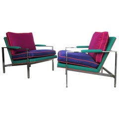 Flat Bar Chrome Steel Lounge Chairs by Milo Baughman