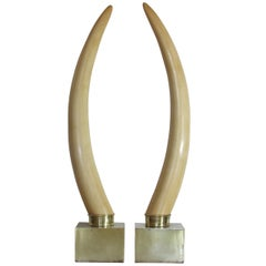 Hollywood Regency Faux Ivory Tusk Sculptures