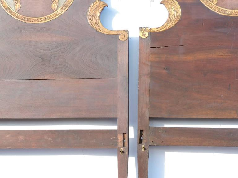 Pair of Antique Carved Painted & Gilded Italian Beds 2