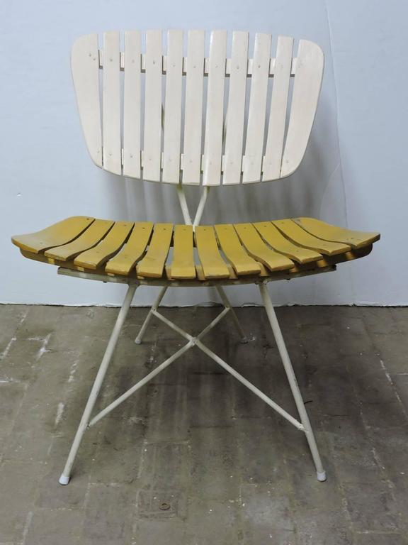 Wood Slat And Iron Low Lounge Chairs By Arthur Umanoff At