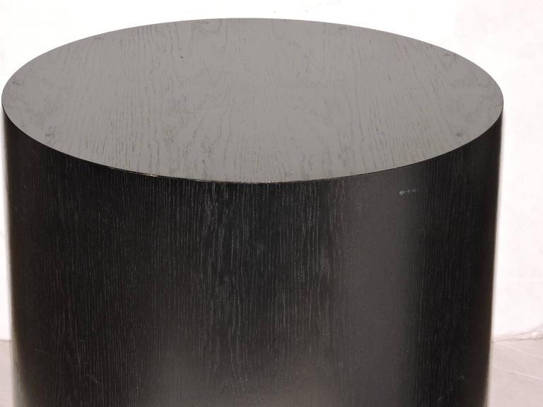 Large Ebonized Wood Cylinder Pedestal Table At 1stdibs