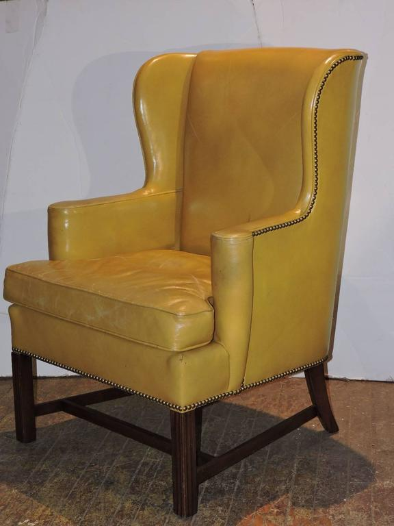 Chippendale Style Mustard Yellow Wingback Library Chair For Sale 4